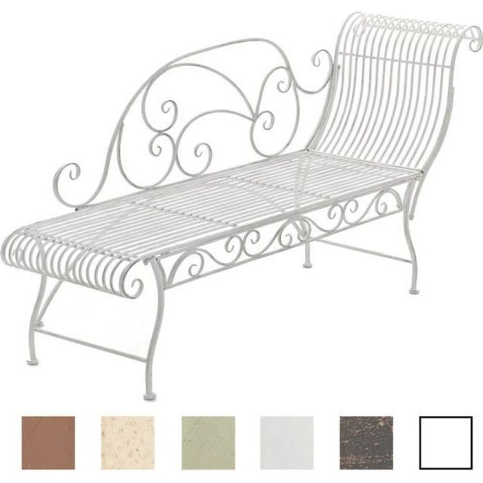 CLP Banc de Jardin Karma en Fer Forgé - Banc avec Récamière - Banquette de Jardin Style Romantique - Chaise Longue de Jardin en Fer