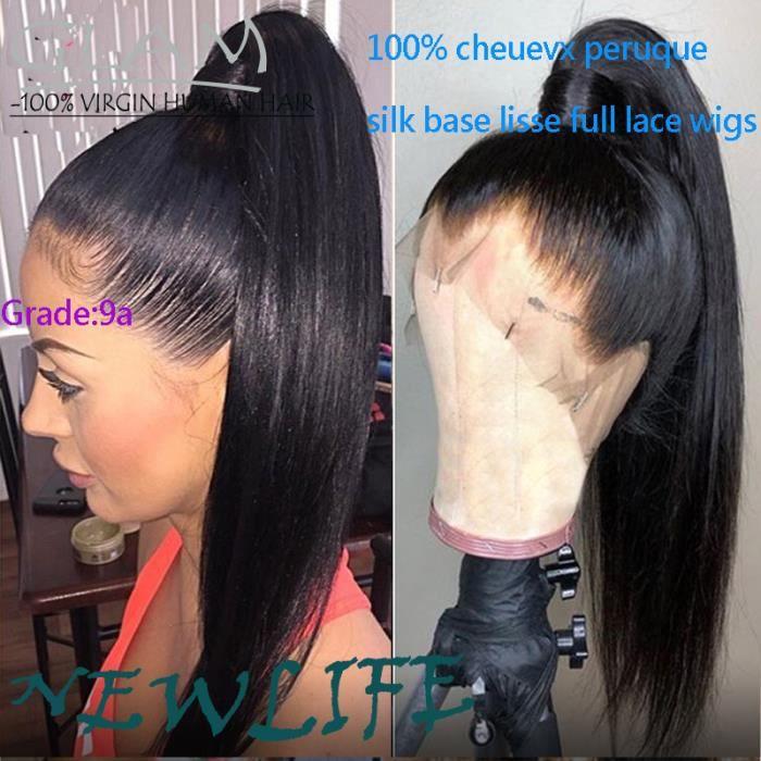 silk base lisse full lace perruque sans colle cheveux sans colle droite de cheveux humains pour les femmes noires remy brésilien 18