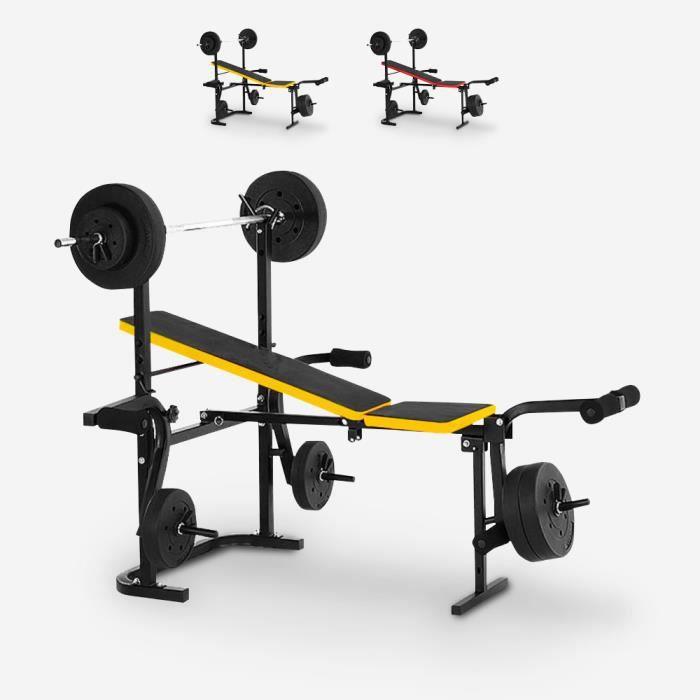 Banc de musculation pliant multifonction avec différents poids Balancer, Couleur: Jaune