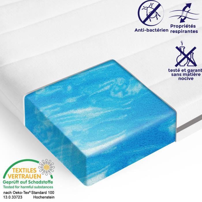 Surmatelas en mousse gel 80 x 190 epaisseur 5 cm, sur-matelas housse lavable, sommeil optimal, certifie oeko tex