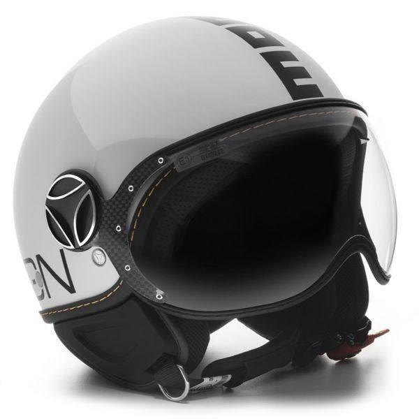 MOMO DESIGN Casque Jet FGTR Evo Blanc Brillant Logo Noir