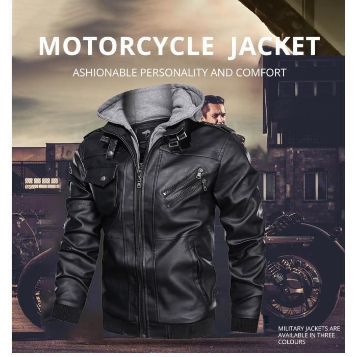 Veste de moto en cuir PU rétro rétro hommes veste de moto