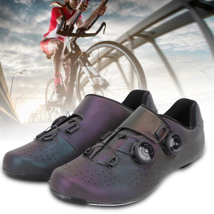 Chaussures de vélo de route Chaussure de vélo de route auto-bloquante en fibre de carbone colorée respirante
