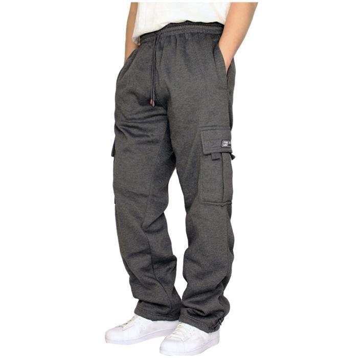 Pantalon En Corde Pour Homme À Taille Ample Avec Poche De Couleur Unie, Sport Vrac