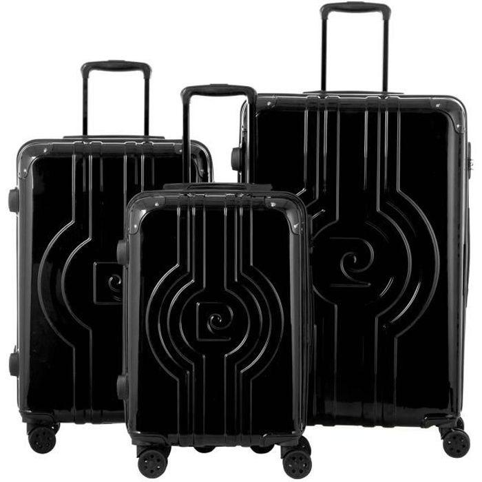 Set de 3 valises : 1 bagage cabine 55 cm et 2 bagages grandes tailles 65 et 75 cm,,Noir,BAGAGE RIGIDE,PC13455-3BLK Noir