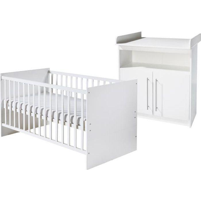 ROBA Chambre enfant -Maren- 2 pièces, lit bébé 70x140 cm et commode à langer, blanc