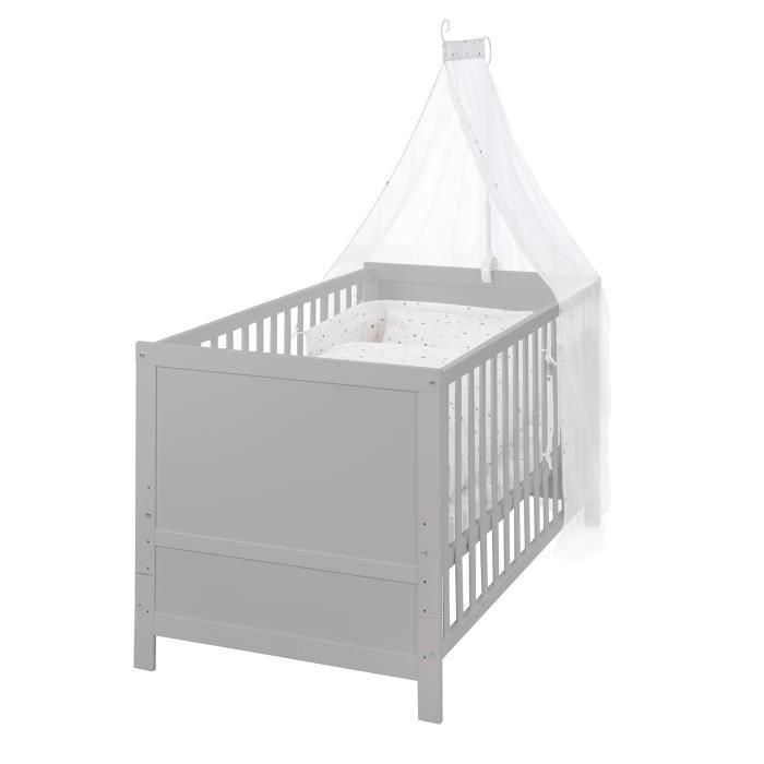 ROBA Lit bébé évolutif, 70 x 140 cm, taupe, réglable sur 3 hauteurs, barres amovibles transformables en lit junior