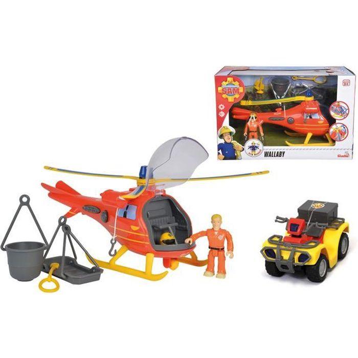 SMOBY Sam Le Pompier - Pack Hélicoptère Océan + Quad Mercure