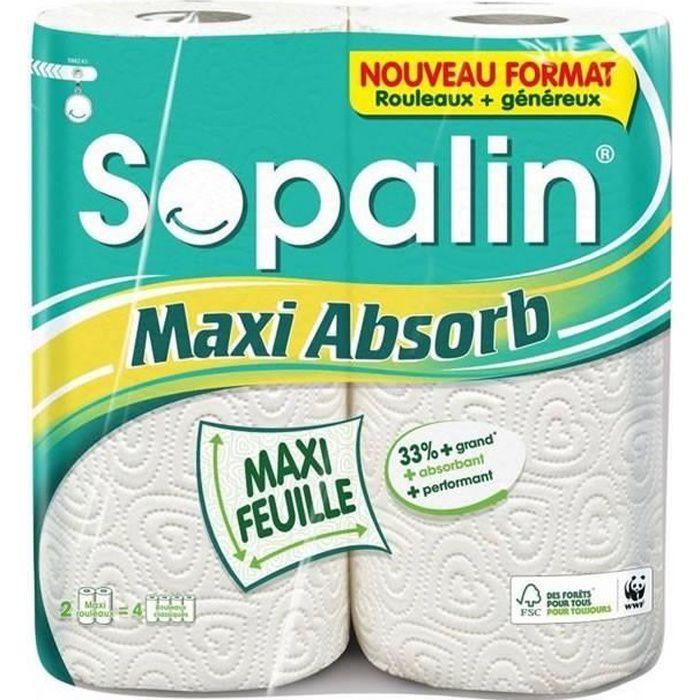 LOT DE 3 - SOPALIN Maxi Absorb Essuie-tout maxi feuille maxi absorbant - 2 rouleaux