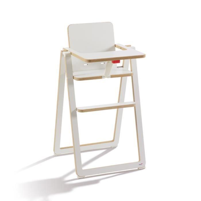 SUPAFLAT chaise haute en bois - ultra compacte - blanche