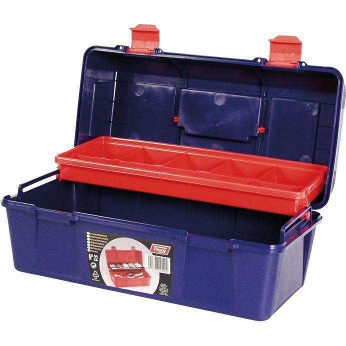 Boîte à outils plastique - bleu et rouge - 36 cm