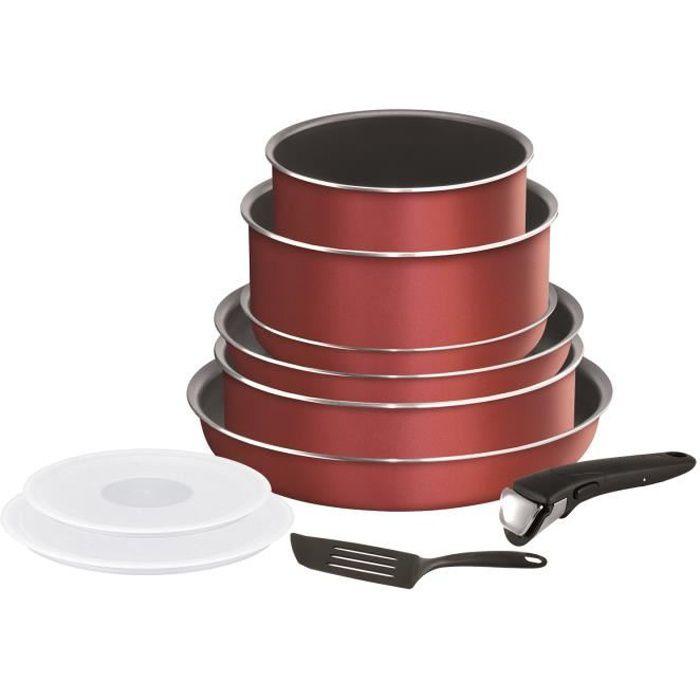 TEFAL L2369002 Batterie de cuisine 10 pièces INGENIO ESSENTIAL - Tous feux sauf induction - Made in France - Rouge