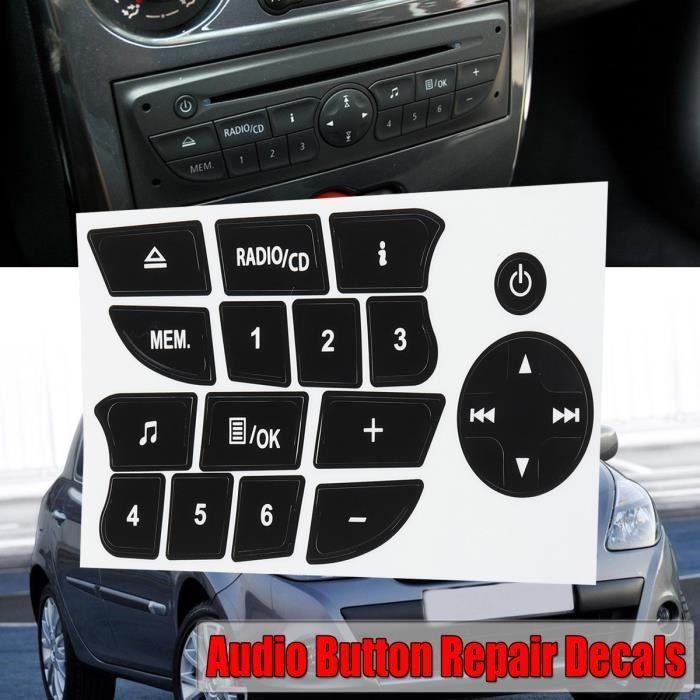 Voiture Bouton autocollants de réparation radio cd Audio Stickers Pour Twingo Renault Clio et Megane 2009-2011