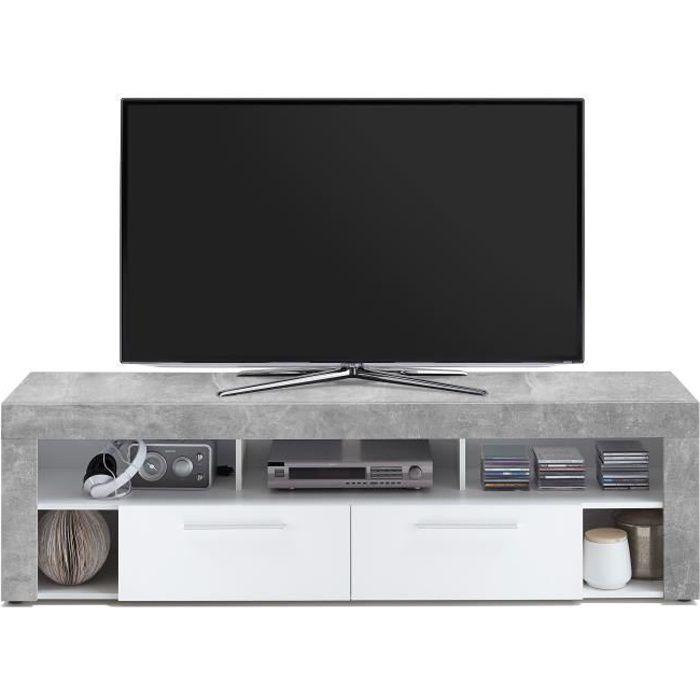 VIBIO Meuble TV contemporain mélaminé décor gris effet béton et blanc - L 180 cm