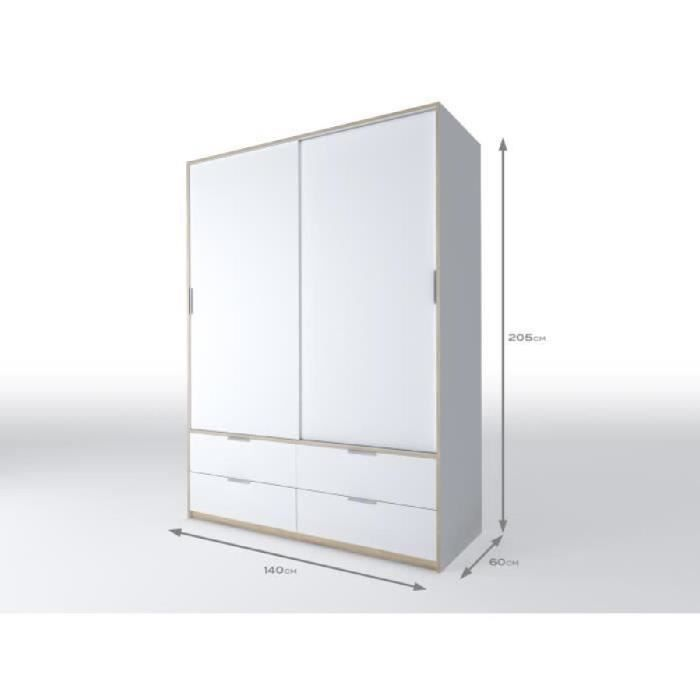 capri armoire de chambre 140 cm blanc mat et d cor ch ne. Black Bedroom Furniture Sets. Home Design Ideas