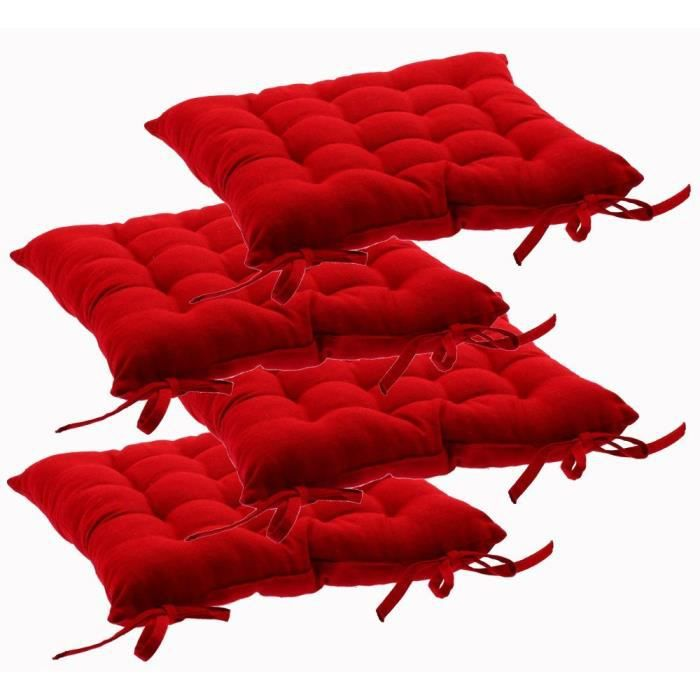 lot de 4 galettes de chaises avec attaches 38 x 38 cm rouge achat vente coussin de. Black Bedroom Furniture Sets. Home Design Ideas