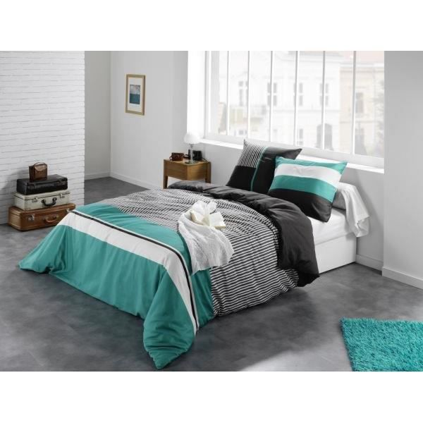 housse de couette 240x260 cm caravelle turquoise cd 2 taies d oreiller 65x65 cm 100 pur coton. Black Bedroom Furniture Sets. Home Design Ideas