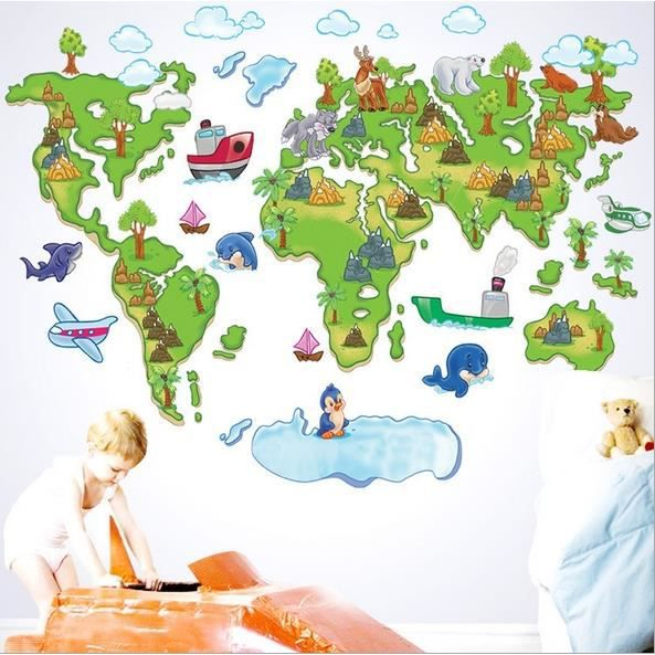 stickers muraux enfant la carte du monde carton achat vente stickers cdiscount. Black Bedroom Furniture Sets. Home Design Ideas
