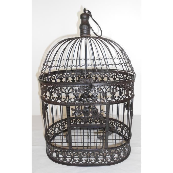 cage oiseaux marron fer forg 44x29x21 cm achat vente cage d corative cdiscount. Black Bedroom Furniture Sets. Home Design Ideas