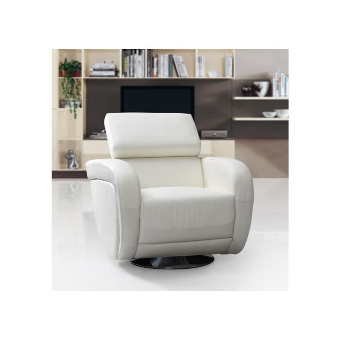 fauteuil pivotant rotari en cuir blanc achat vente. Black Bedroom Furniture Sets. Home Design Ideas