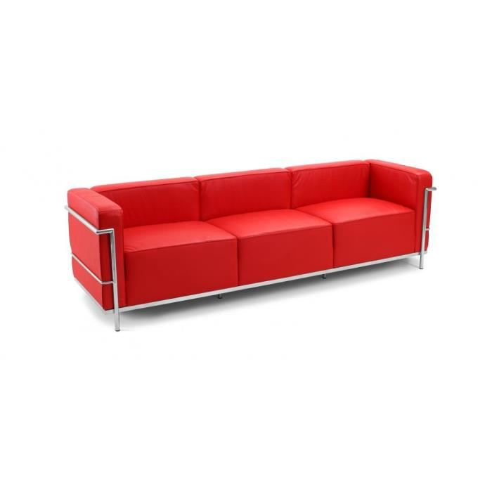 Canap design lc3 inspir charles le corbusier 3 p achat vente canap s - Canape cuir le corbusier ...