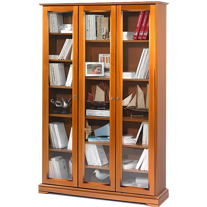 biblioth que style louis philippe 3 portes vitr es achat vente biblioth que biblioth que 3. Black Bedroom Furniture Sets. Home Design Ideas