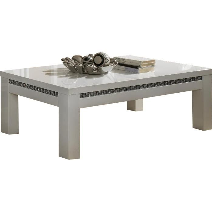 Table de salon blanche laqu e avec strass achat vente table basse table d - Table basse de salon blanche ...