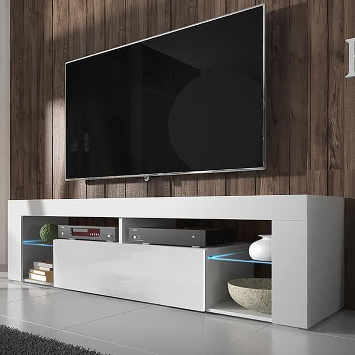meuble tv meuble de salon hugo 140 cm blanc mat. Black Bedroom Furniture Sets. Home Design Ideas