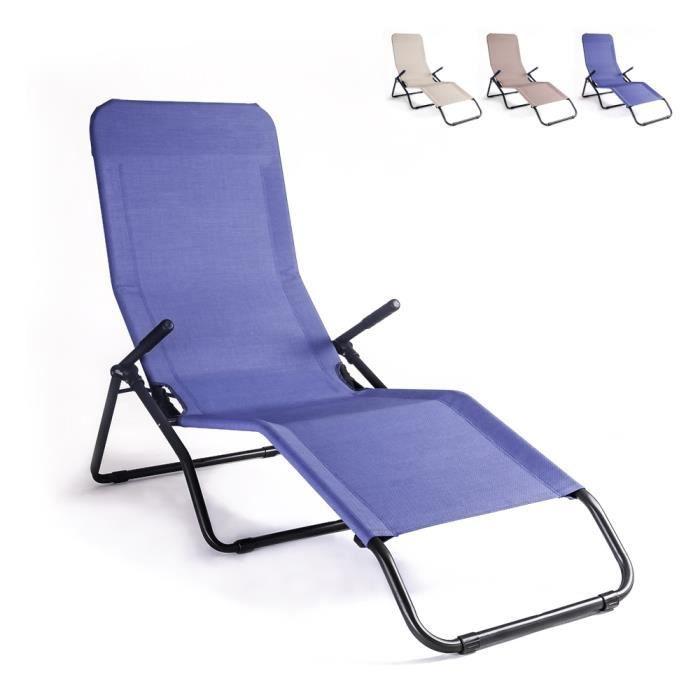 Chaise longue de plage et de jardin pliante en acier Pasha LuxURY