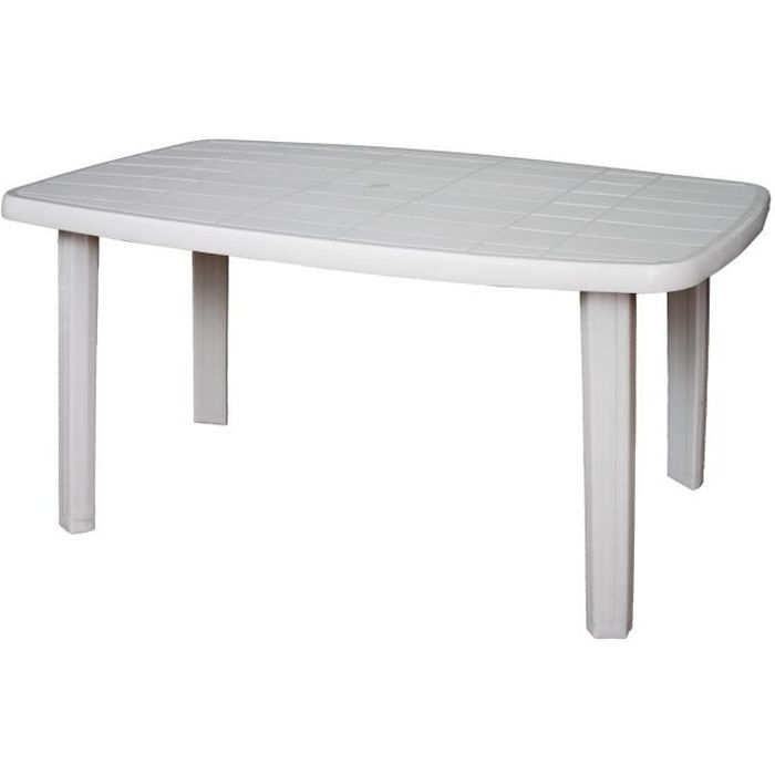 Table de jardin rectangulaire Sorrento en resine - 6 places - 140 x 80 x 72  cm - Blanc