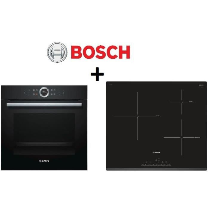 Pack cuisson bosch hbg675bb1f four multifonction for Table induction bosch