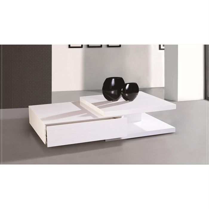 Table basse laqu e blanc fallone achat vente table - Table basse design blanc ...