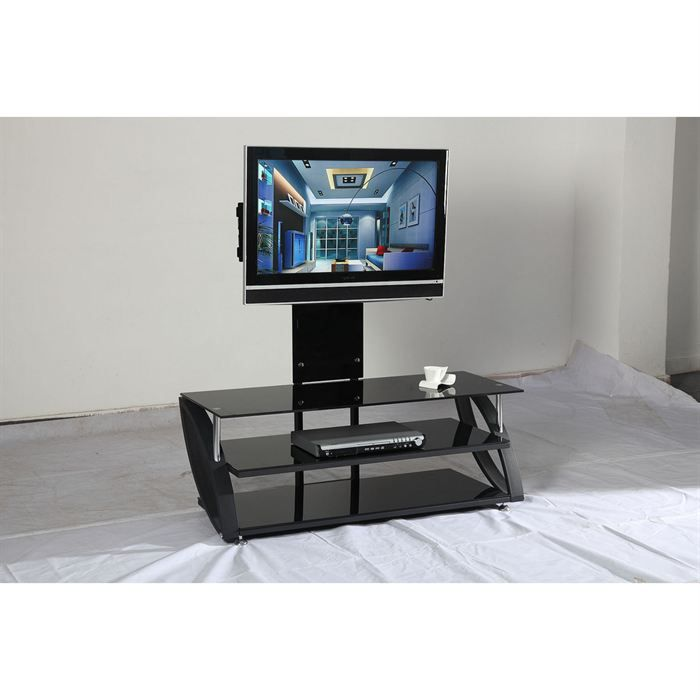 meuble tv acier et verre noir hubble achat vente. Black Bedroom Furniture Sets. Home Design Ideas