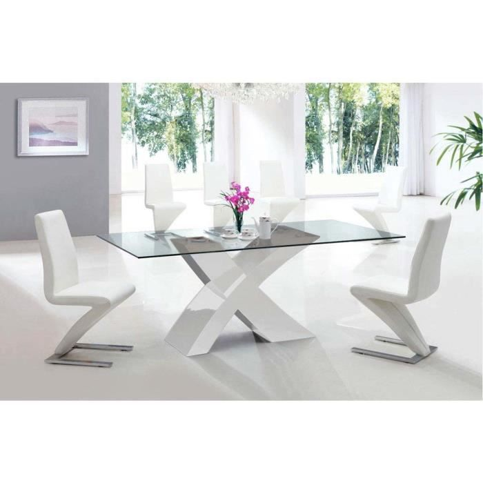 table repas mona en verre rectangulaire 200 x 90 x 75 cm blanc achat vente table a. Black Bedroom Furniture Sets. Home Design Ideas