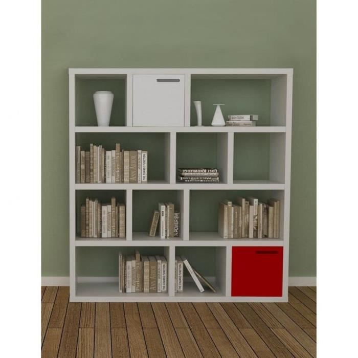 Meije bibliotheque tag re laquee blanc blanc 2 achat vente biblioth que - Etagere laquee blanc ...