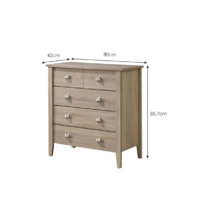 neo commode de chambre 80 cm d cor ch ne sonoma et blanc achat vente commode de chambre. Black Bedroom Furniture Sets. Home Design Ideas