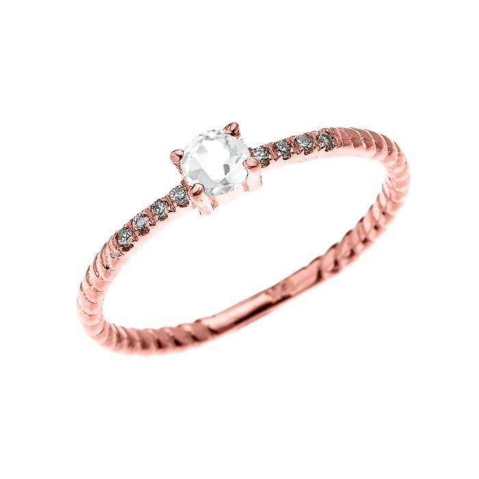 Bague Femme 10 Ct Or Rose Solitaire Blanc Topaze Et Diamant Conception De Corde