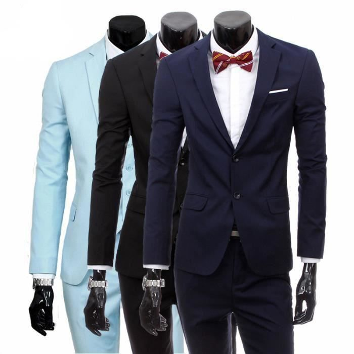 costume homme 3 pieces mariage tenue de soir e f te blazer veste homme bleu marine achat. Black Bedroom Furniture Sets. Home Design Ideas