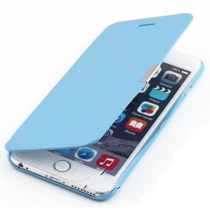 coque iphone 6 6s plus rabat magnetique bleu