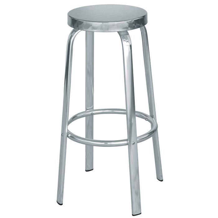 TABOURET DE BAR Tabouret de bar en aluminium et assise en acier -