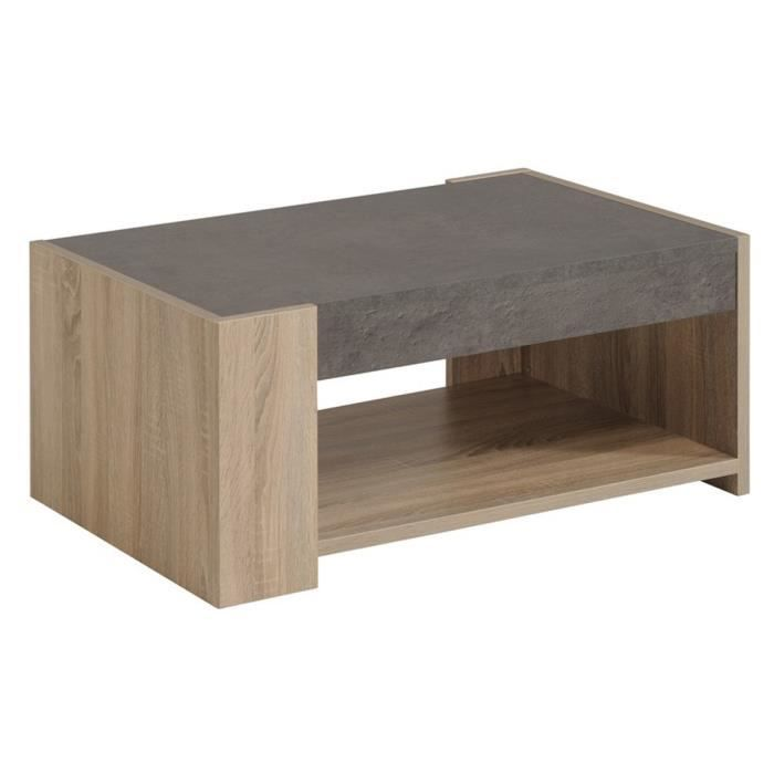 Table basse en panneaux de particules rev tus papier d cor for Table basse chene brut