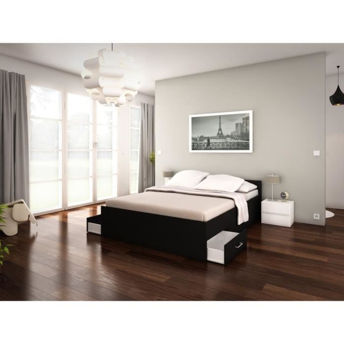 pop structure de lit adulte 2 tiroirs 140x200 noir achat. Black Bedroom Furniture Sets. Home Design Ideas