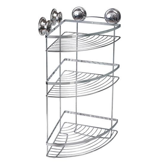 tatkraft spring etagere d 39 angle bain douche triple 30 5x22x51 5 cm acier chrome par 4 ventouses. Black Bedroom Furniture Sets. Home Design Ideas