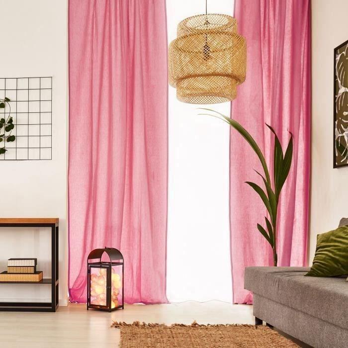 VOILAGE Voilage Premium Coton - 110 x 250 cm - Rose Fuchsi