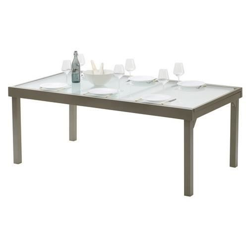 Table de salon de jardin modulo taupe200 cm 320 cm achat for Vente table jardin