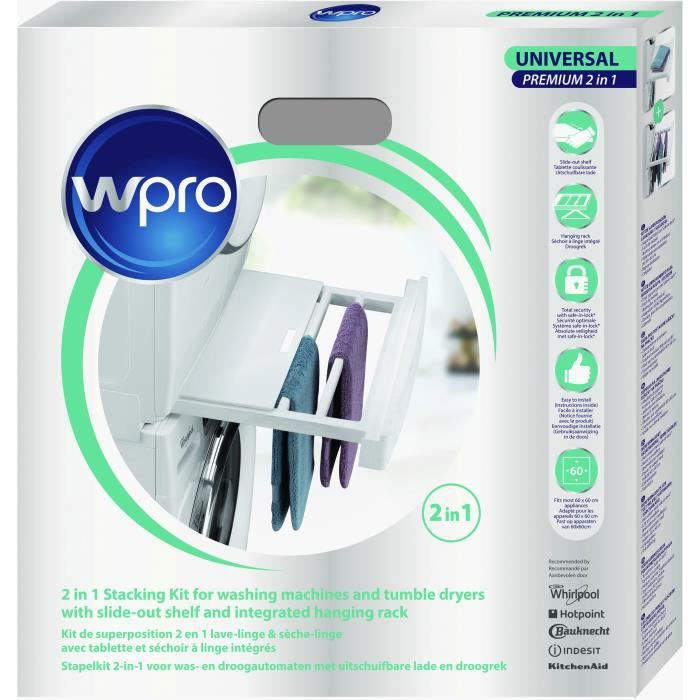 wpro skp101 kit de superposition 2 en 1 lave-linge / sèche-linge
