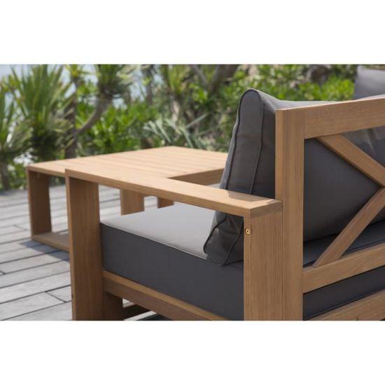 FINLANDEK - Salon de jardin 5 places avec angle modulable en eucalyptus -  LEVATA