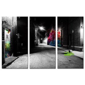 TABLEAU - TOILE Tableau Déco Triptyque Moderne Art de Rue by Night