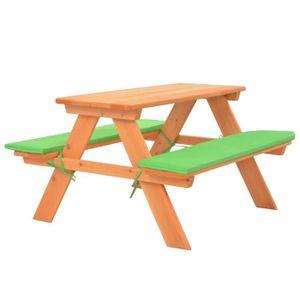 SALON DE JARDIN  Table de pique-nique pour enfants avec bancs 89x79