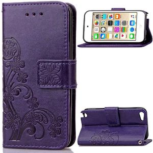 COQUE MP3-MP4 Bujing Violet Gaufrage Trèfle Cuir Synthétique TPU